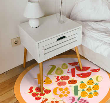Vinyl rug with fruits and vegetables. Perfect as a kitchen decoration. Easy to clean and store. Made of high quality materials.