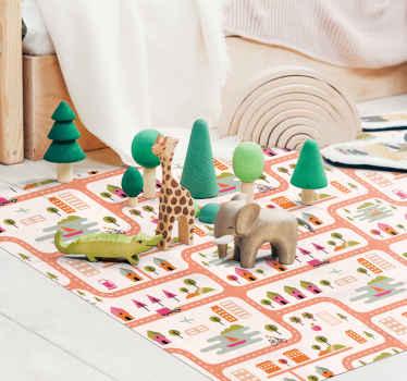 Vinyl teppich mit landstraßen, perfekt als dekoration für Ihr kinderzimmer. Sie können es leicht reinigen und aufbewahren. Aus hochwertigem vinyl.