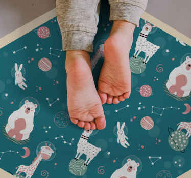 Is your child a little explorer and loves animals? Doesn't this blue cartoon animal vinyl carpet fit him or her best? Your child will be so happy.