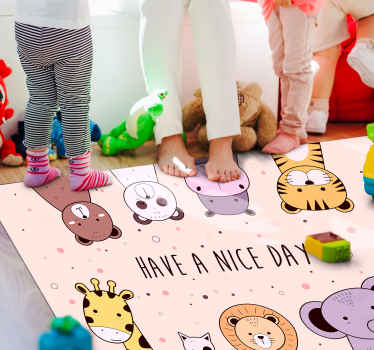 Your children will not be able to help but fall in love with this custom cartoon animal children vinyl rug! It offers an animal hord.