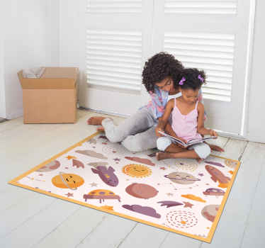Cute designs for your kid's room. A smiling planets space pattern vinyl rug. It comes in a square shape and you can choose the size you wish.