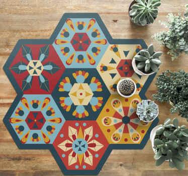 Tapis en sticker à carreaux hexagonaux, parfait comme décoration pour votre appartement. Facile à nettoyer, fait de matériaux de haute qualité. 100% de satidfaction.