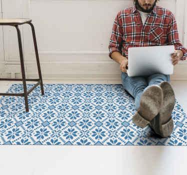 Blauwe bloementegels vinyl vloerkleed, perfect als decoratie voor uw keuken of slaapkamer. Gemaakt van hoogwaardig vinyl. 100% tevredenheid.