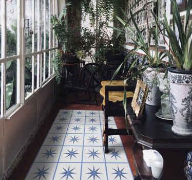 Alfombra vinilo hidráulica con azulejos de estrellas azules ideal para decorar tu cocina o los pasillos ¡Descuentos disponibles!