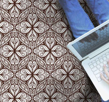 Alfombra vinilo hidráulica con azulejos marrones que te ayudará a decorar tu casa a tu propio gusto. Elige medidas ¡Compra online!