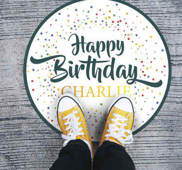 Put your name on this personalized happy birthday vinyl rug to celebrate your birthday with the best decoration. High quality product!
