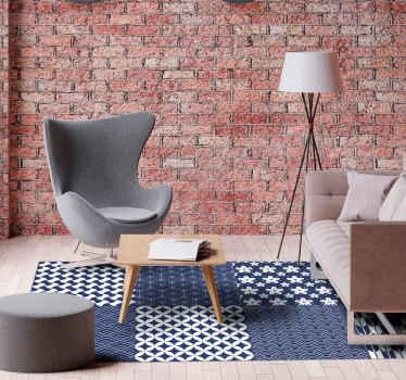 ¡Una moderna alfombra vinílica geométrica con cuadrados de colores blancos y azules en forma rectangular para decorar tu casa!