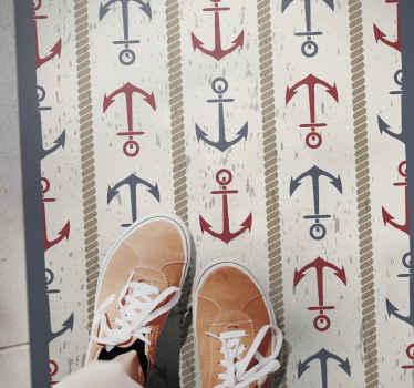 Original alfombra vinilo infantil con anclas en rojo y azul sobre un fondo claro para darle al cuarto de tu hijo un toque original ¡Envío exprés!