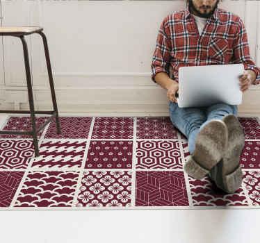 Una alfombra vinilo hidráulica con dibujos de azulejos rojo para decorar tu cocina, baño o el lugar que desees ¡Descuentos disponibles!