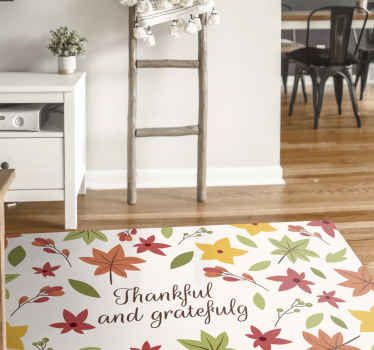 Thankful and grateful text with colored swirl leaf print custom rug. You would love this carpet in your home and it is suitable to decorate any space.