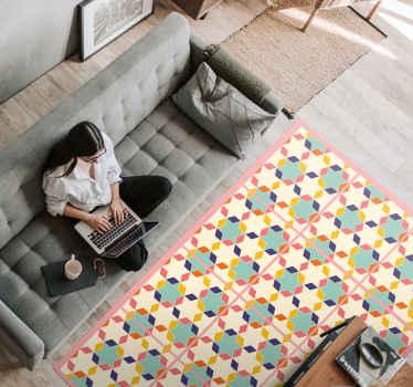 En vinyl fargerik flisematte full av farger som kan fylle rommet ditt med glede og vintage-effekt for å dekorere hjemmet ditt. Enkel å påføre.