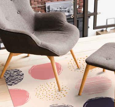 Un moderno tappeto in vinile colorato orbits per dare alla tua casa un tocco carino e moderno! Scegli la taglia giusta e completa il tuo ordine!