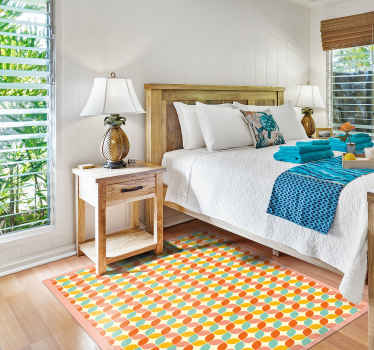 A colorful squares vinyl rug to give your house and unique and wonderful look with a product that will last for years! Delivery to your house!