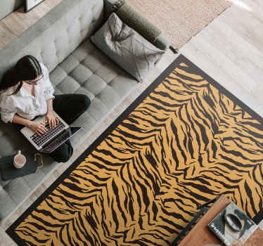 Beautiful animal print mat to decorate your home with an orange product with black stripes that will give a happy atmosphere to your home.
