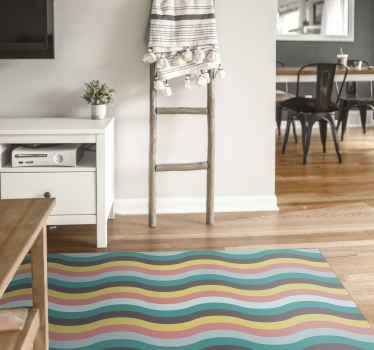 Una colorida alfombra vinilo nórdica con ondas escandinavas para darle un toque único a tu casa. Elige medidas ¡Descuentos disponibles!