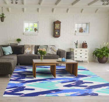 Preciosa alfombra vinilo nórdica de rayas azules para darle a tu hogar el toque elegante y clásico que estás buscando.