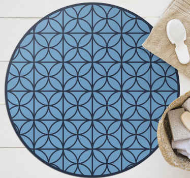 Vinyl rug with overlaping blue circles. It is made of high quality materials. You can easily clean it and store. Check it out!