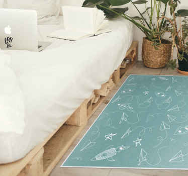 A lovely and cute green background paper planes with stars and rackets vinyl rug that fits any age. Made at your size product!
