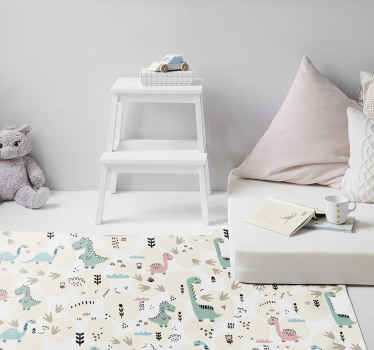 This is a dinosaur prints rug with many little dinosaur designs in pink and pastel blue, perfect for decorating your baby or child's room.