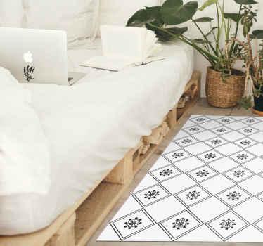 Um clássico tapete de vinil com azulejos zeus em preto e branco para todas as pessoas clássicas que procuram decorar a sua casa de uma forma simples.
