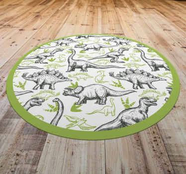 This outstanding dinosaur vinyl rug will add so much character to your home! Discounts available on our website right now.