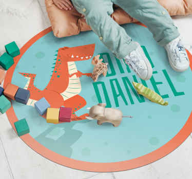 """Maravillosa alfombra vinílica infantil con formato circular y con T-Rex que lleva el texto """"Soy ..."""" y donde podrás personalizar el nombre"""