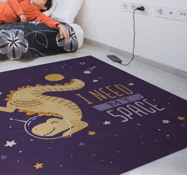 La combinaison parfaite pour les enfants qui aiment l'espace et les dinosaures. Un tapis en sticker violet j'ai besoin de mon espace dinosaure pour la chambre des enfants.