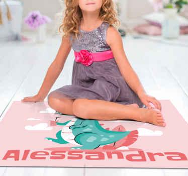 Maravillosa alfombra vinilo infantil para niñas para que decores su cuarto con un diseño de color rosa con nombre ¡Descuentos disponibles!