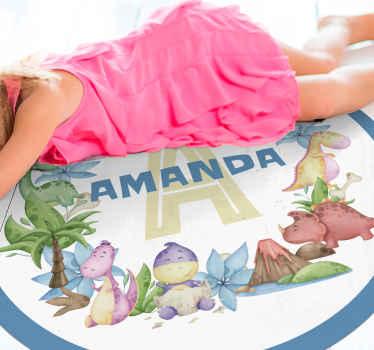 Increíble alfombra vinílica infantil con animales de estilo nórdico y con nombre que podrás personalizar. Elige tus medidas ¡Envío exprés!