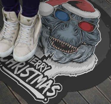 Weihnachts-vinylteppich, der ein Bild eines dinosauriers mit einer weihnachtsmütze und einer 3d-brille mit dem text 'frohe weihnachten' darunter kennzeichnet.