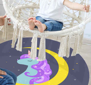 Suitable children bedroom vinyl carpet with illustration design of  beautiful unicorn and space features. It is original and easy to maintain.