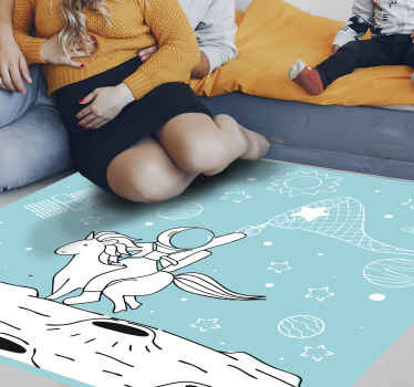 Astronaut riding unicorn animal vinyl rug design to decorate a living room floor and interior areas in a home. Original and easy to maintain.