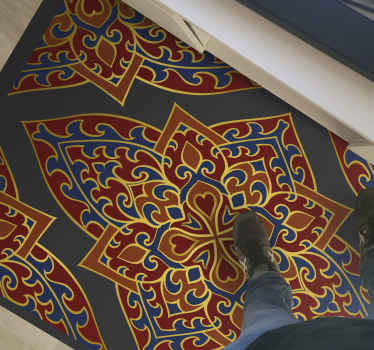 Alfombra vinilo étnica con estampado persa con adornos rojo y amarillo sobre fondo gris. Hecho de material de alta calidad ¡Envío exprés!