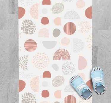 Ein wunderbarer geometrischer teppich mit geometrischen formen in pastellfarben und weißem Hintergrund, der perfekt in den korridor ihres Hauses passt.