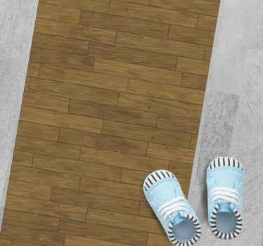 Alfombra vinílica marrón de madera para que decores de forma original tu pasillo, entrada o salón ¡Descuentos disponibles!