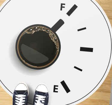 Beyaz zemin üzerine bir kahve fincanı görüntüsünün yer aldığı bu özgün tasarım, yemek odası dekorasyonu için idealdir. Uygulaması kolay.