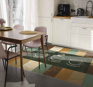 Modern flooring of dark colours that include brown, green, beige, etc. and the illustration of several coffee cups to decorate your kitchen.