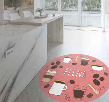Pink vinyl rug with coffee. It is a perfect pattern for your kitchen. Easy to clean and store. Made of high quality materials.