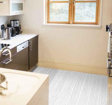 Puuefektivinyylimatto, jossa on kuvio valkoisista laudoista, jotka näyttävät olevan valmistettu puusta. Korkealaatuisia materiaaleja.