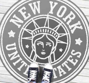 Nuestra alfombra vinilo vintage de sello de New York será ideal para que decores tu casa a tu gusto ¡Descuentos disponibles!