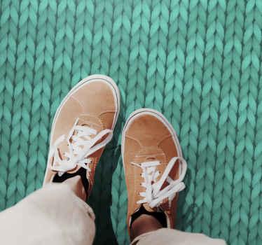 Una alfombra vinílica cocina con un diseño de cuerda verde que es original, fabricado con material de calidad y de fácil mantenimiento.