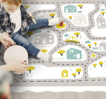 A stunning kids road map vinyl rug with snowy backdrop! Sign up on our website today for 10% off your first order with us.
