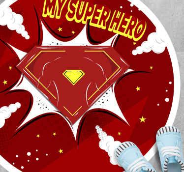 """Alfombra vinilo infantil redonda con estilo de superhéroe y la frase """"mi superhéroe"""" para decorar el cuarto de tu hijo ¡Envío exprés!"""