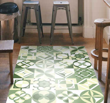 The most stunning geometric pattern rug with a beautiful green tiled look you will find! Extremely easy to apply and maintain.