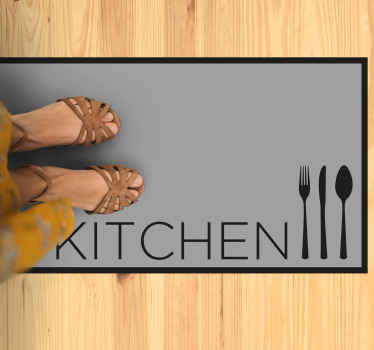 Kitchen text vinyl rug which features the text 'kitchen' with a picture of a knife, fork and spoon next to it. High quality.