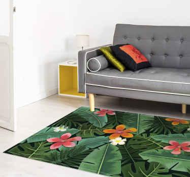 Tappeto in vinile con motivo a foglie tropicali. Include fiori rosa e arancioni su uno sfondo di foglie verdi tropicali. Fatto di materiale di alta qualità.