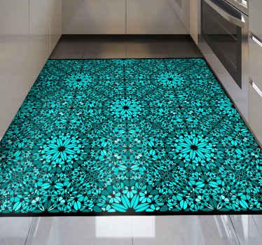 ターキスタイルのビニールラグ。パターンは、黒の装飾が施されたターキスパターンを示しています。それはあなたの台所のためのperfet装飾です。