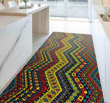 Kolorowy dywan winylowy z niesamowitym plemiennym wzorem w wielu jasnych kolorach. Wyjątkowo trwała materiał.