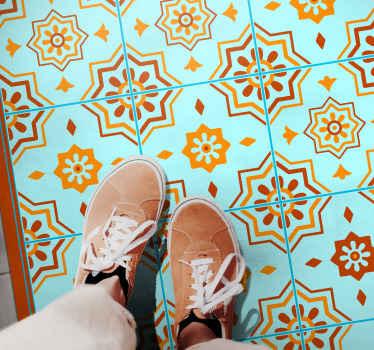 Fliesen-vinyl-teppich mit einem atemberaubenden mosaikmuster, das zwischen verschiedenen einzigartigen fliesen aufgeteilt ist. Sonderanfertigungen auf bestellung. Hohe Qualität.
