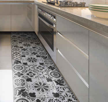 Vinyl rug with gray tiles. This pattern shows different abstract tiles in all shades of gray. Subtle and elegant decoration for your kitchen.